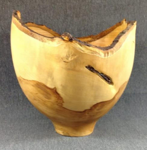 04 Apple-wood natural-edge bowl, green-turned.