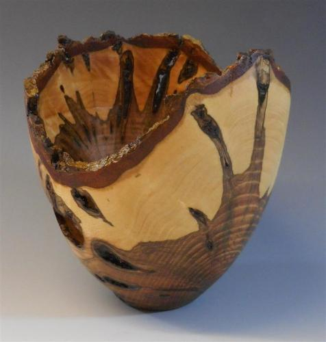 05 Ash canker cross grain bowl with natural edge