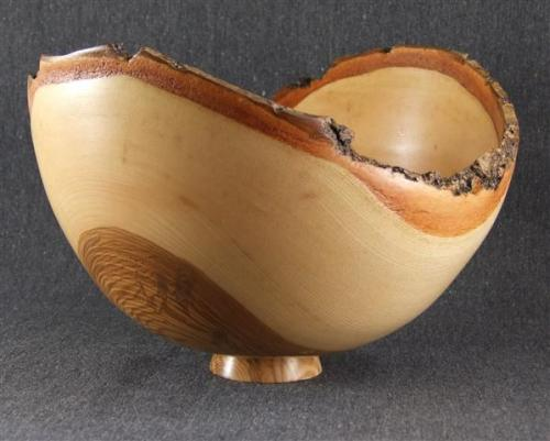 08 Natural edge ash bowl with olive-ash heartwood. Green-turned.