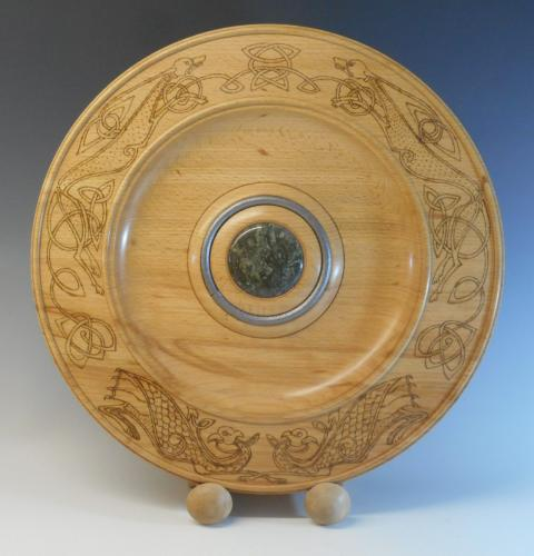 12 Beech platter pyro-engraved to a CelticCornish theme with serpentine stone cabochon